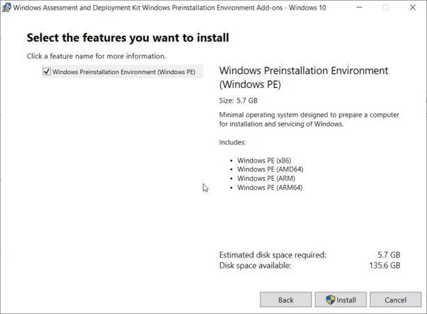 Установка Windows Preinstallation Environment (PE) 1903