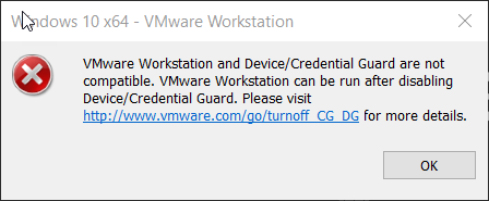 VMware Workstation and DeviceCredential Guard are not compatible
